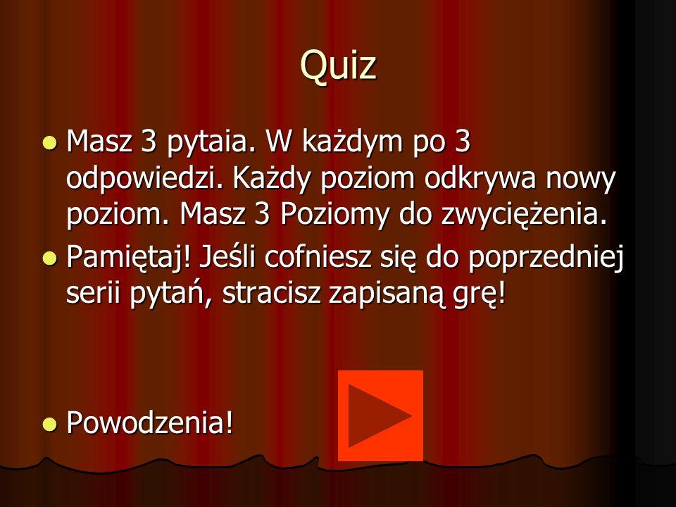Quiz Masz 3 pytaia. W każdym po 3 odpowiedzi. Każdy poziom odkrywa nowy poziom. Masz 3 Poziomy do zwyciężenia.