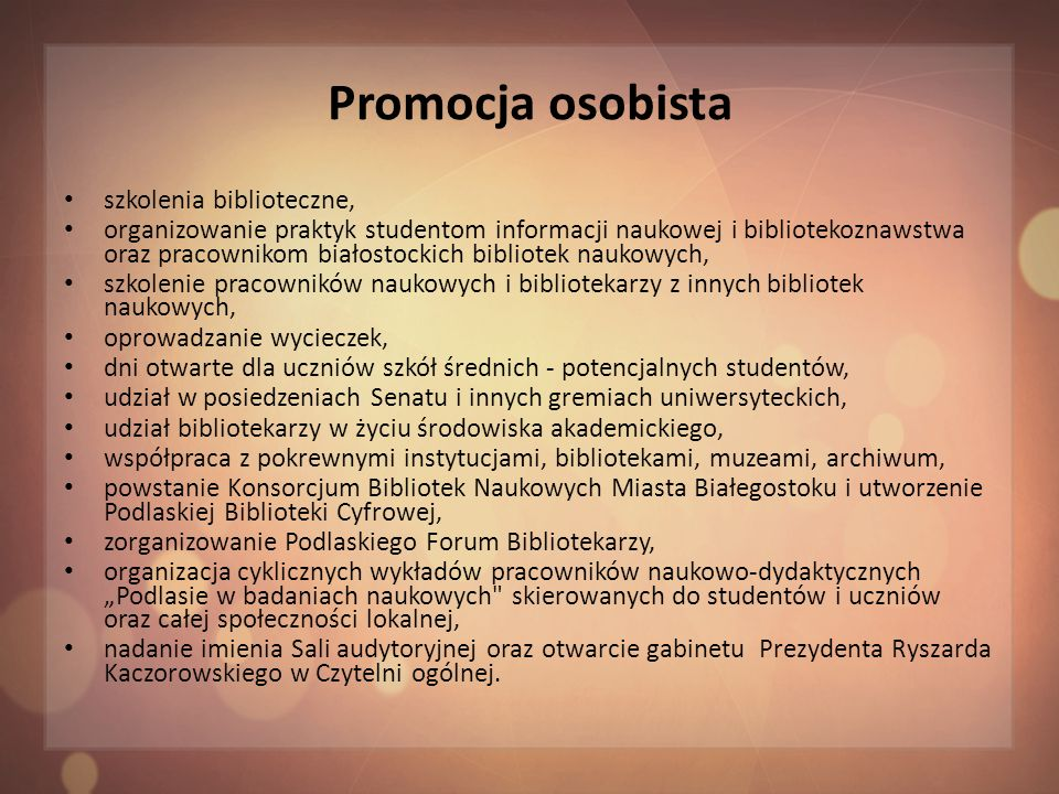 Promocja osobista szkolenia biblioteczne,
