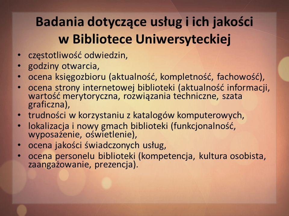 Badania dotyczące usług i ich jakości w Bibliotece Uniwersyteckiej