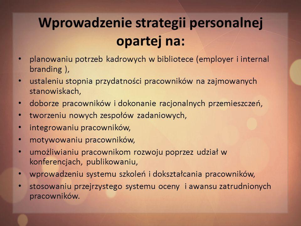Wprowadzenie strategii personalnej opartej na: