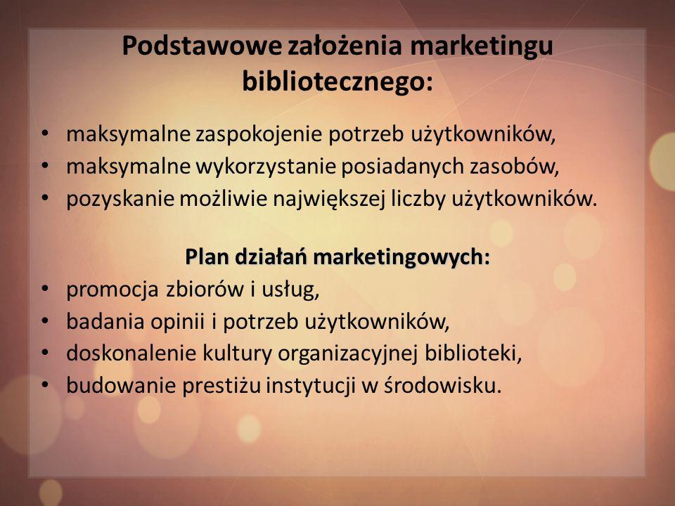 Podstawowe założenia marketingu bibliotecznego: