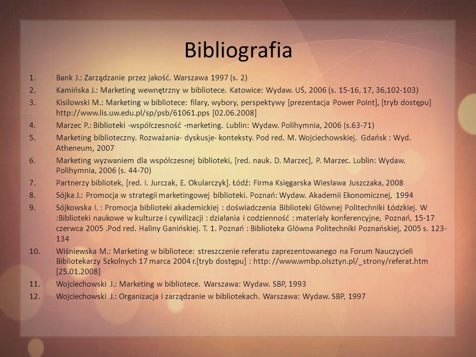 Bibliografia Bank J.: Zarządzanie przez jakość. Warszawa 1997 (s. 2)
