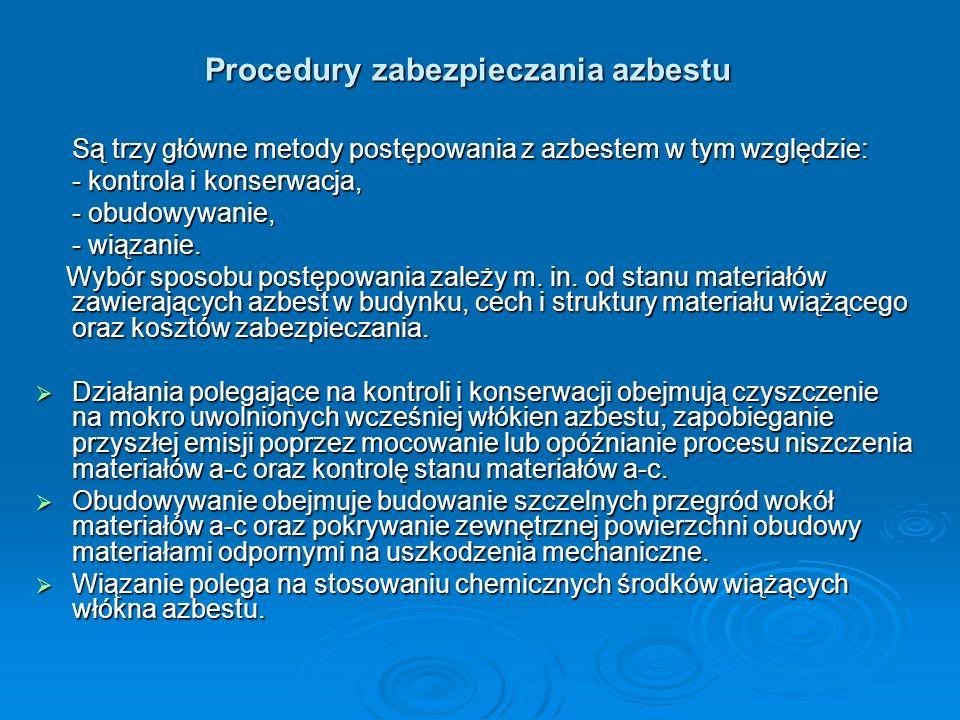 Procedury zabezpieczania azbestu