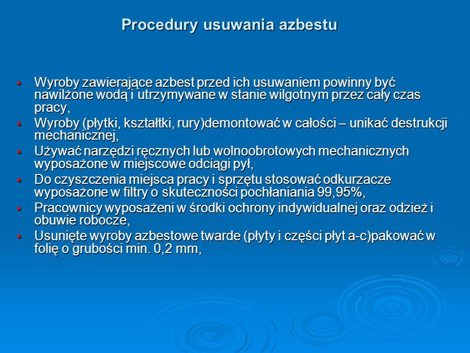 Procedury usuwania azbestu