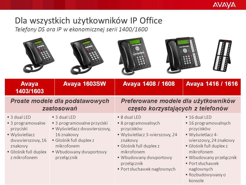 Dla wszystkich użytkowników IP Office Telefony DS ora IP w ekonomicznej serii 1400/1600