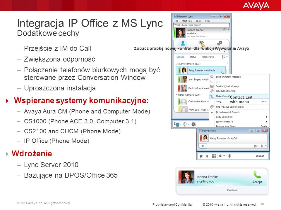 Integracja IP Office z MS Lync Dodatkowe cechy