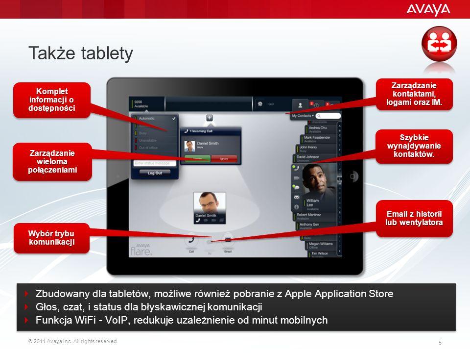 Także tablety Zarządzanie kontaktami, logami oraz IM. Komplet informacji o dostępności. Szybkie wynajdywanie kontaktów.