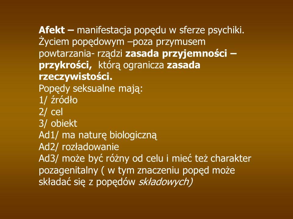 Afekt – manifestacja popędu w sferze psychiki.