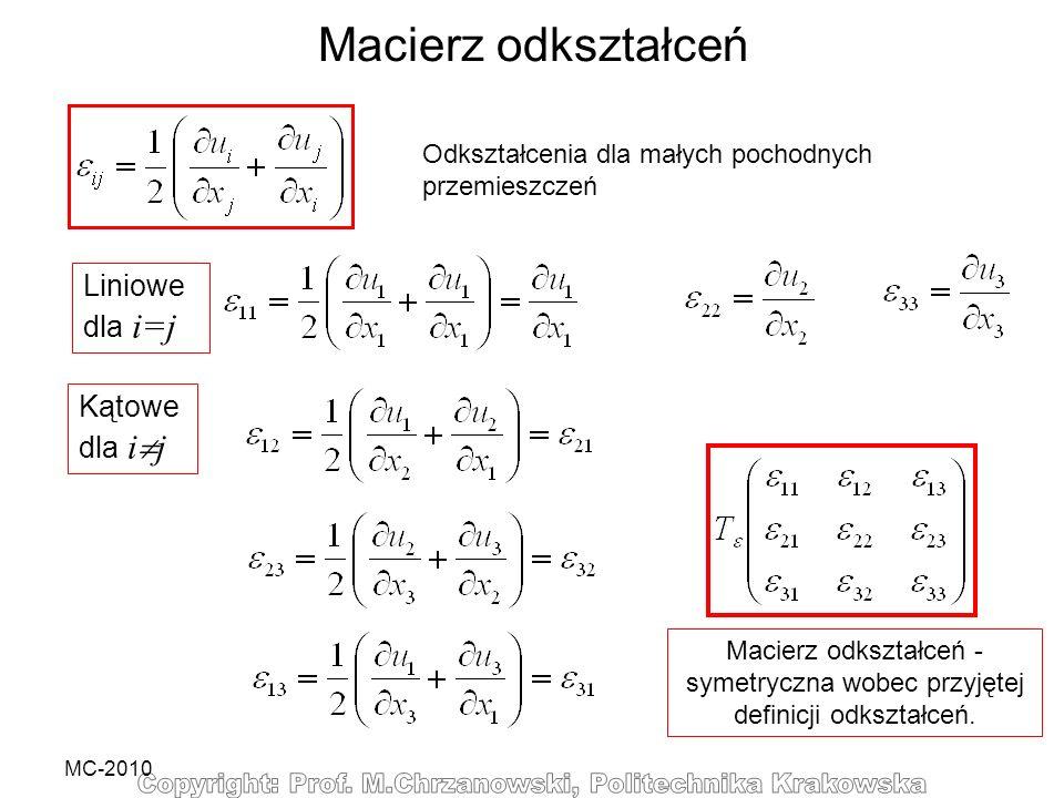 Macierz odkształceń Liniowedla i=j Kątowedla ij