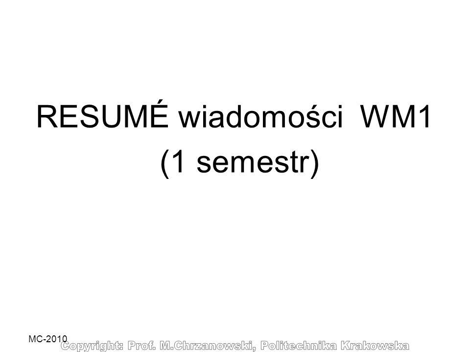 RESUMÉ wiadomości WM1 (1 semestr)