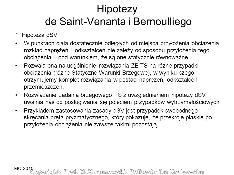 Hipotezy de Saint-Venanta i Bernoulliego