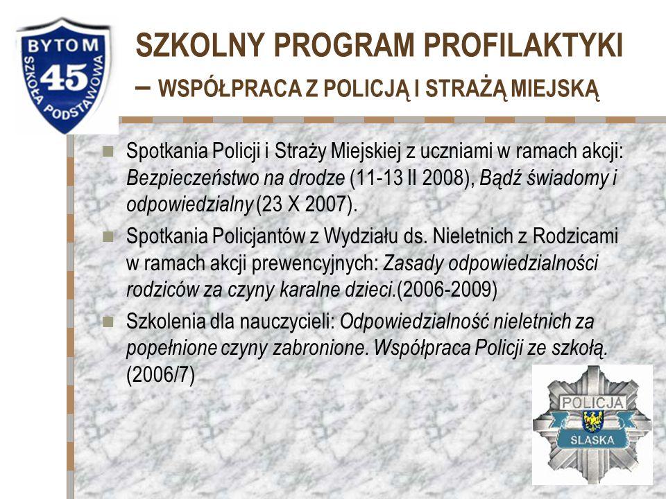 SZKOLNY PROGRAM PROFILAKTYKI – WSPÓŁPRACA Z POLICJĄ I STRAŻĄ MIEJSKĄ