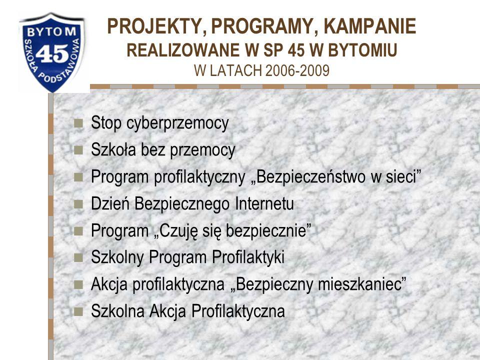 PROJEKTY, PROGRAMY, KAMPANIE REALIZOWANE W SP 45 W BYTOMIU W LATACH 2006-2009