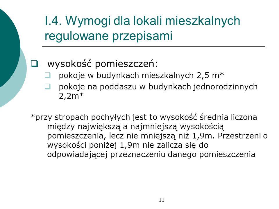 I.4. Wymogi dla lokali mieszkalnych regulowane przepisami