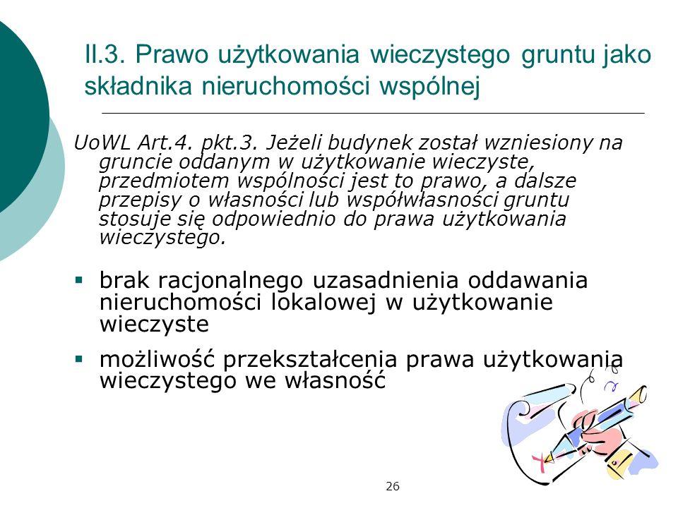 II.3. Prawo użytkowania wieczystego gruntu jako składnika nieruchomości wspólnej