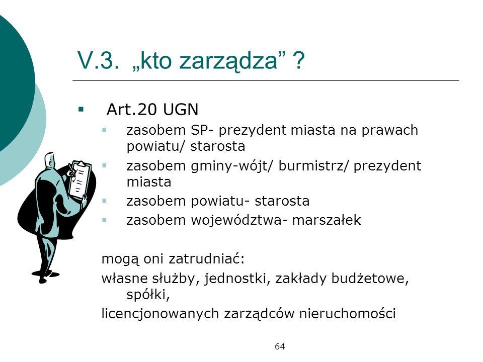 """V.3. """"kto zarządza Art.20 UGN"""