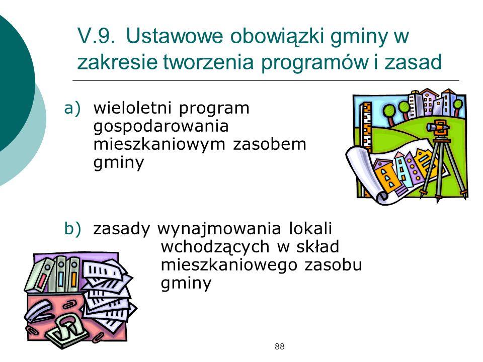 V.9. Ustawowe obowiązki gminy w zakresie tworzenia programów i zasad