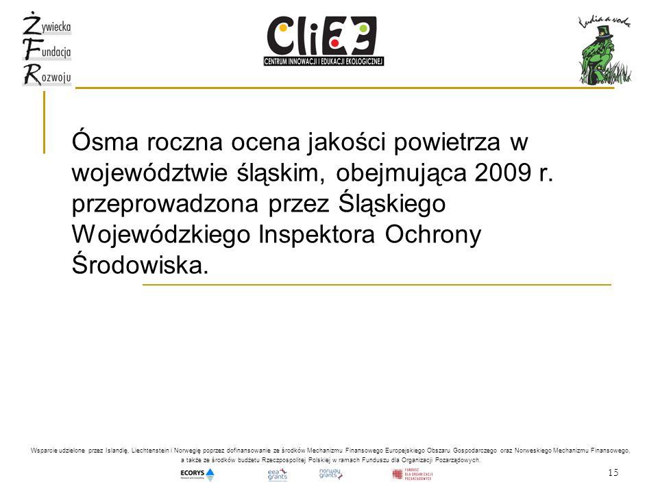 Ósma roczna ocena jakości powietrza w województwie śląskim, obejmująca 2009 r. przeprowadzona przez Śląskiego Wojewódzkiego Inspektora Ochrony Środowiska.