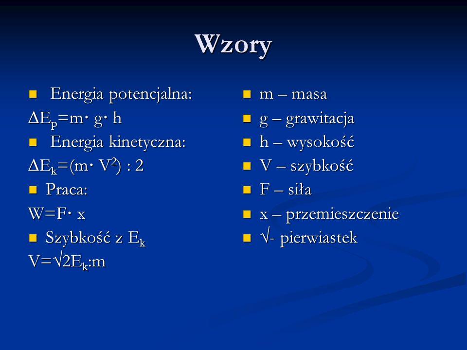 Wzory Energia potencjalna: ∆Ep=m· g· h Energia kinetyczna: