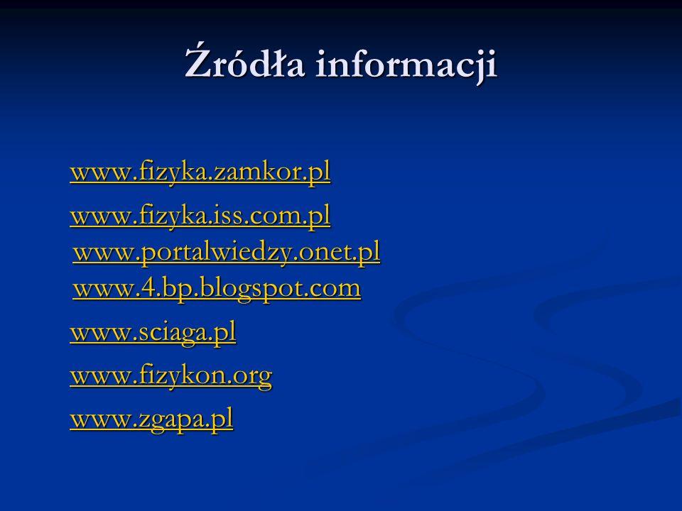 Źródła informacji www.fizyka.zamkor.pl