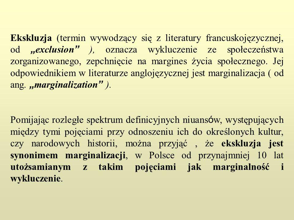 """Ekskluzja (termin wywodzący się z literatury francuskojęzycznej, od """"exclusion ), oznacza wykluczenie ze społeczeństwa zorganizowanego, zepchnięcie na margines życia społecznego. Jej odpowiednikiem w literaturze anglojęzycznej jest marginalizacja ( od ang. """"marginalization )."""