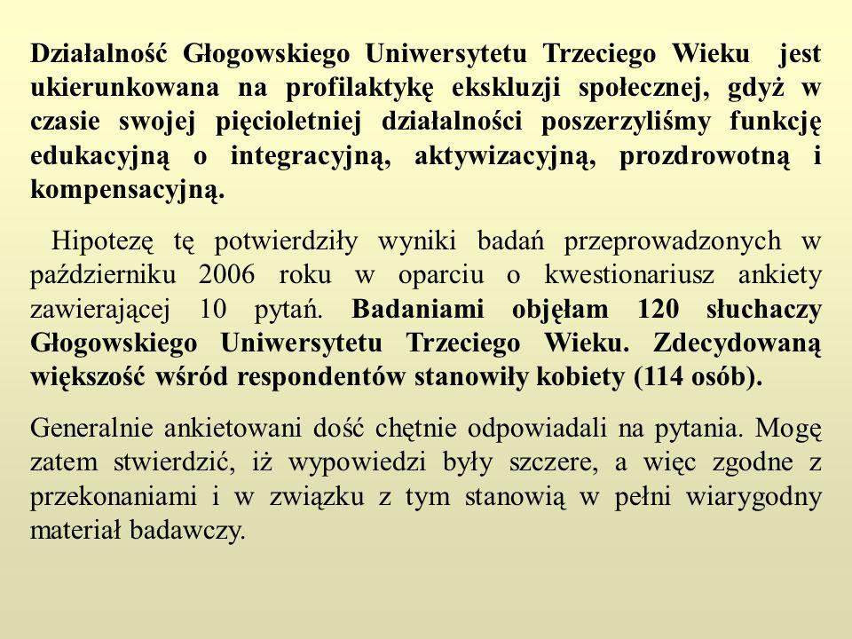 Działalność Głogowskiego Uniwersytetu Trzeciego Wieku jest ukierunkowana na profilaktykę ekskluzji społecznej, gdyż w czasie swojej pięcioletniej działalności poszerzyliśmy funkcję edukacyjną o integracyjną, aktywizacyjną, prozdrowotną i kompensacyjną.