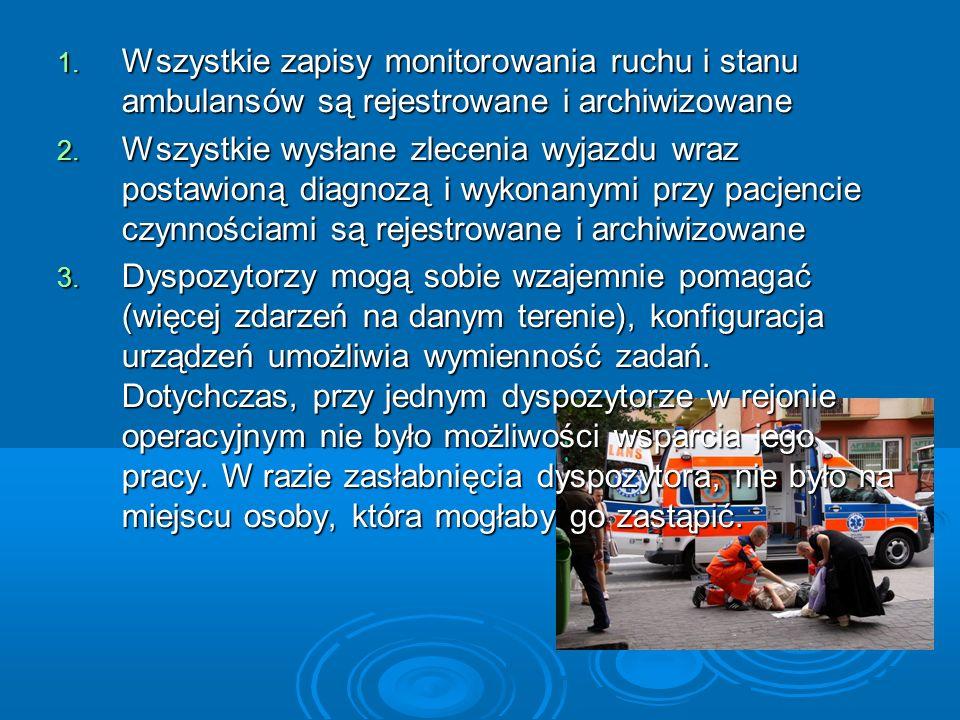 Wszystkie zapisy monitorowania ruchu i stanu ambulansów są rejestrowane i archiwizowane