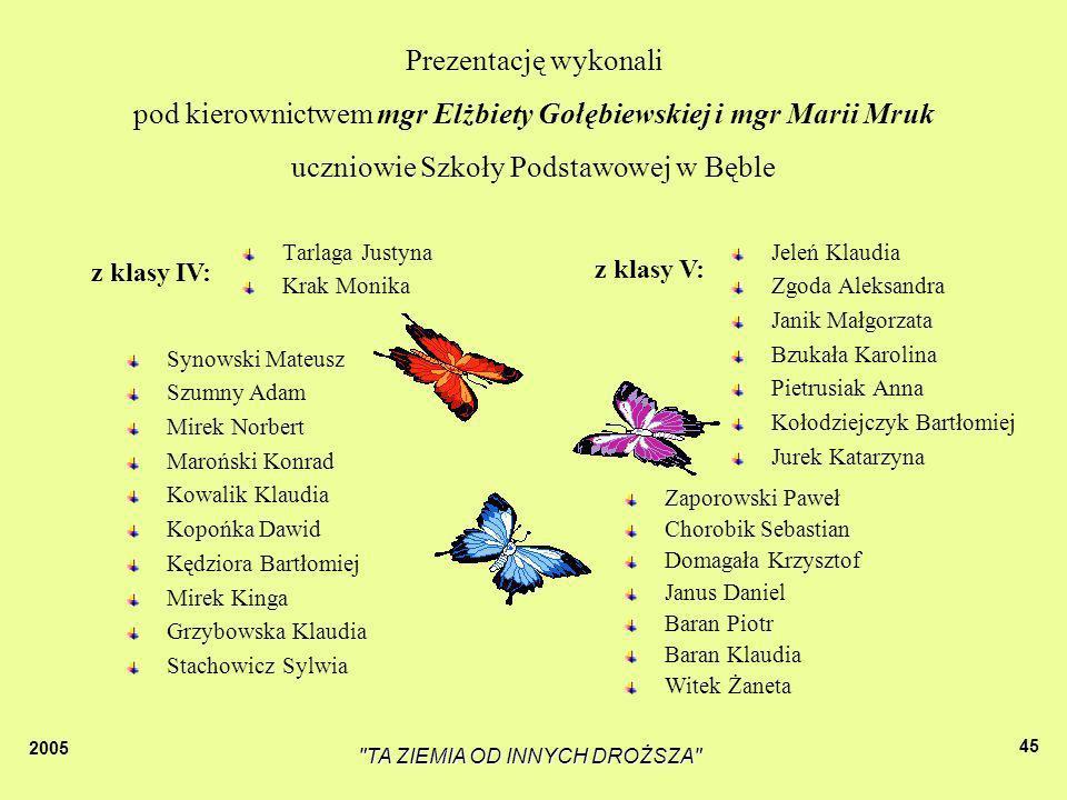 pod kierownictwem mgr Elżbiety Gołębiewskiej i mgr Marii Mruk