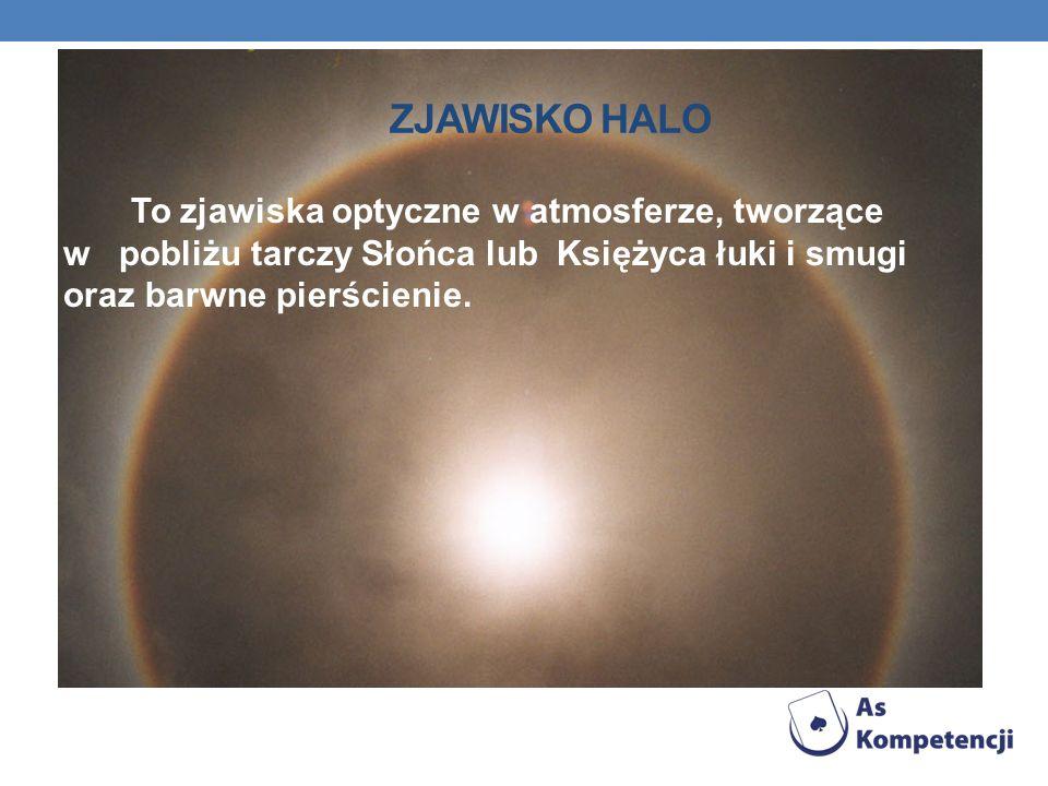 Zjawisko Halo To zjawiska optyczne w atmosferze, tworzące w pobliżu tarczy Słońca lub Księżyca łuki i smugi oraz barwne pierścienie.