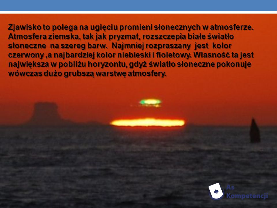 Zjawisko to polega na ugięciu promieni słonecznych w atmosferze