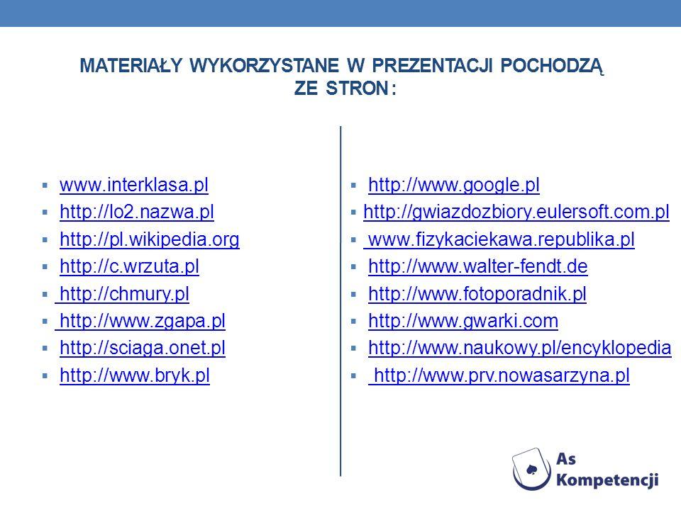 Materiały wykorzystane w prezentacji pochodzą ze stron :