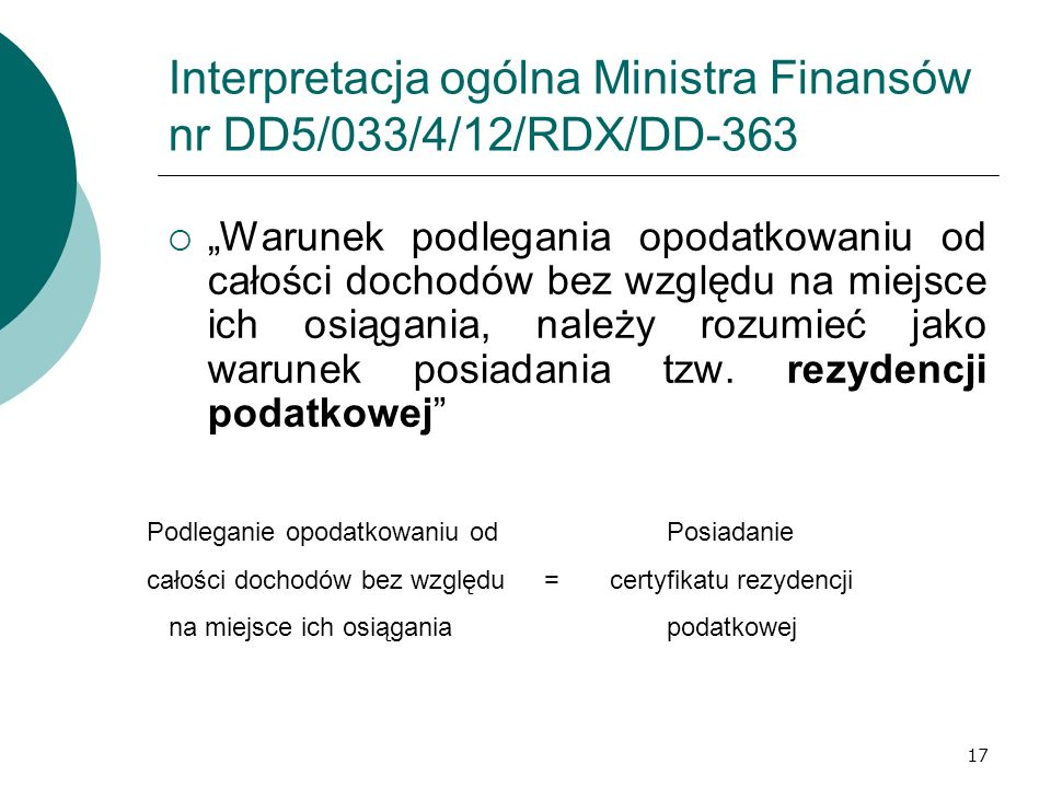 Interpretacja ogólna Ministra Finansów nr DD5/033/4/12/RDX/DD-363