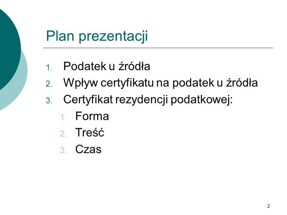 Plan prezentacji Podatek u źródła