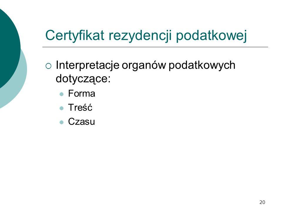 Certyfikat rezydencji podatkowej