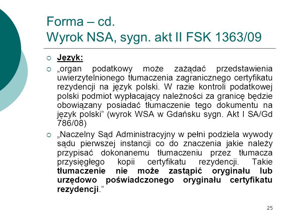Forma – cd. Wyrok NSA, sygn. akt II FSK 1363/09