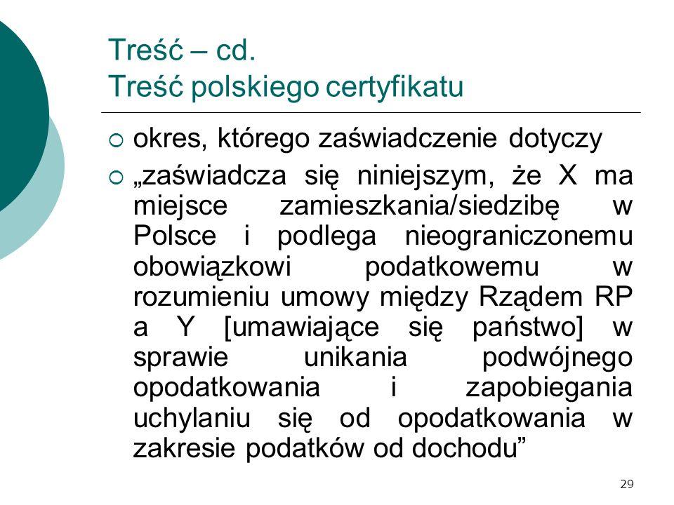 Treść – cd. Treść polskiego certyfikatu