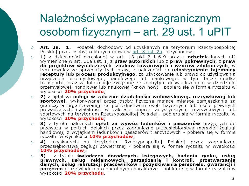 Należności wypłacane zagranicznym osobom fizycznym – art. 29 ust