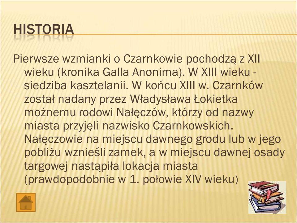 Pierwsze wzmianki o Czarnkowie pochodzą z XII wieku (kronika Galla Anonima).