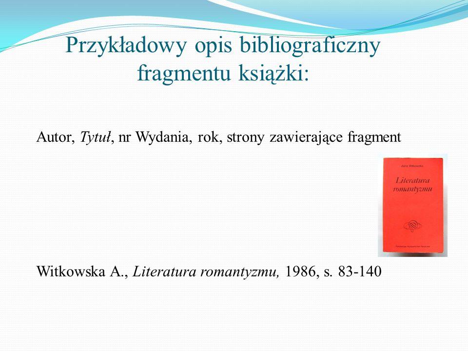 Przykładowy opis bibliograficzny fragmentu książki: