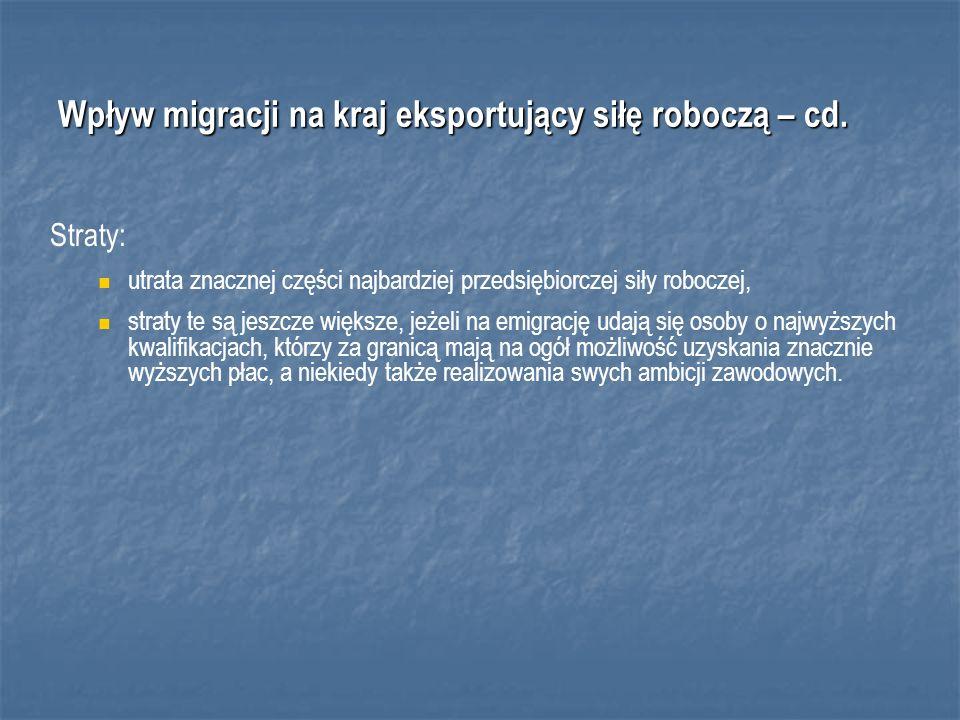 Wpływ migracji na kraj eksportujący siłę roboczą – cd.