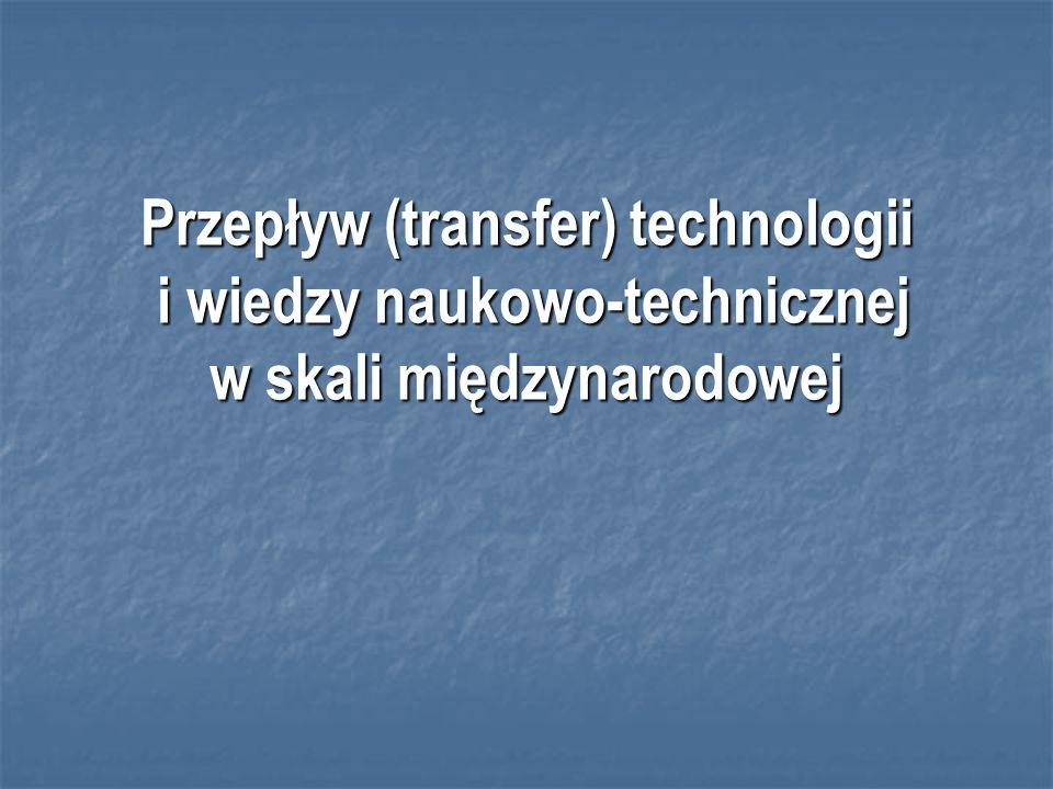 Przepływ (transfer) technologii i wiedzy naukowo-technicznej w skali międzynarodowej