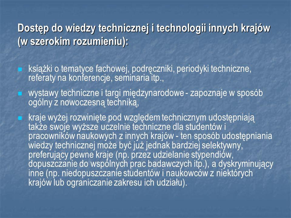Dostęp do wiedzy technicznej i technologii innych krajów (w szerokim rozumieniu):