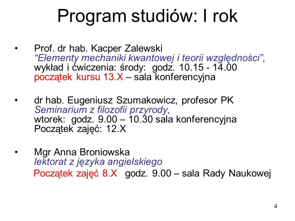 Program studiów: I rok