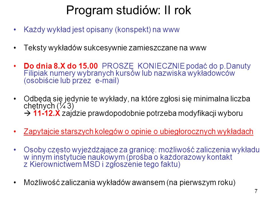 Program studiów: II rok