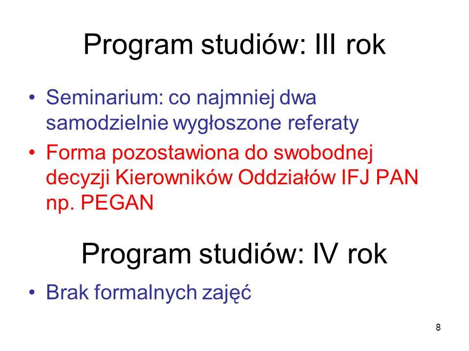 Program studiów: III rok