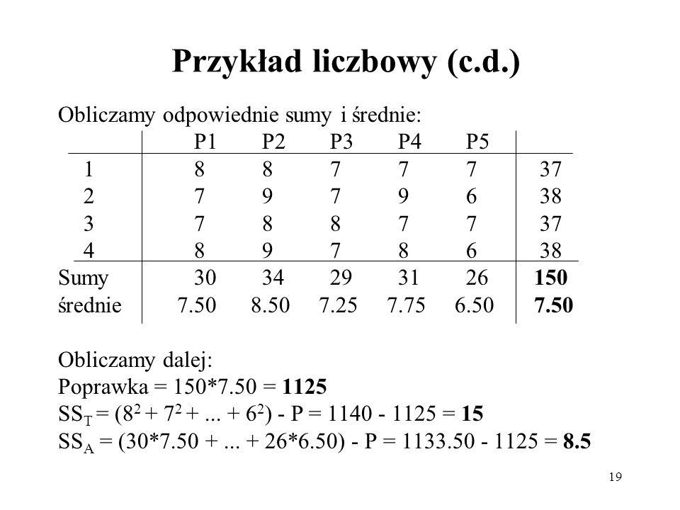 Przykład liczbowy (c.d.)