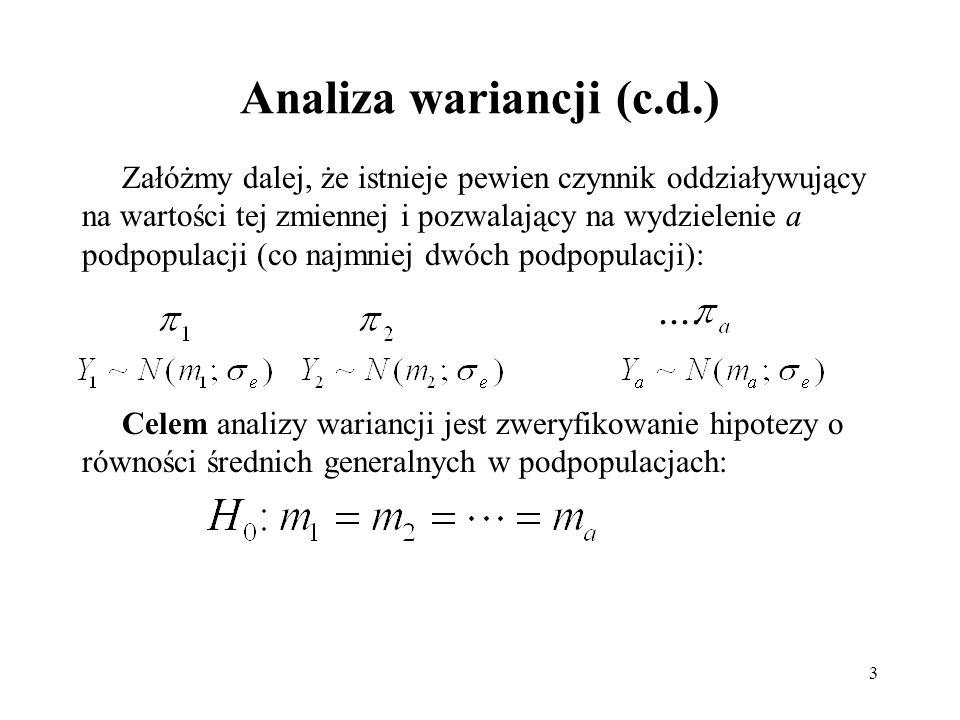 Analiza wariancji (c.d.)