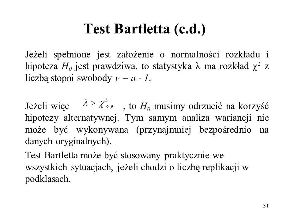 Test Bartletta (c.d.)