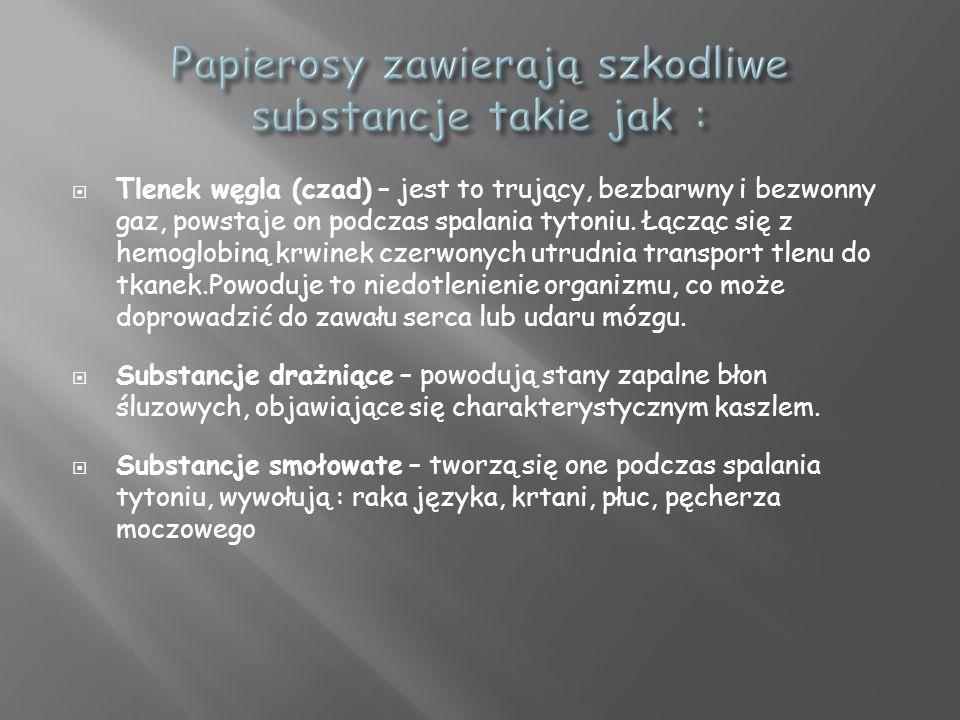 Papierosy zawierają szkodliwe substancje takie jak :