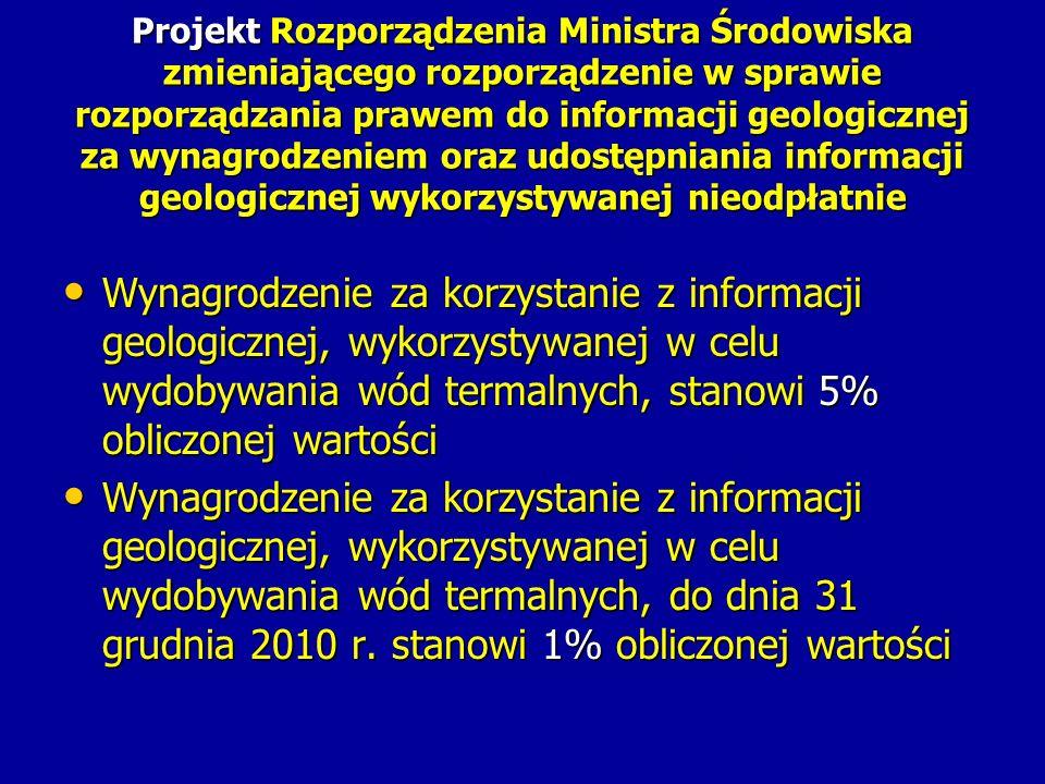 Projekt Rozporządzenia Ministra Środowiska zmieniającego rozporządzenie w sprawie rozporządzania prawem do informacji geologicznej za wynagrodzeniem oraz udostępniania informacji geologicznej wykorzystywanej nieodpłatnie